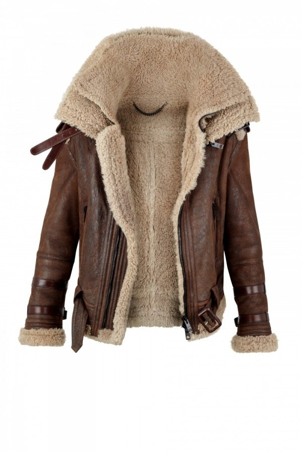 brown furred leather jacket